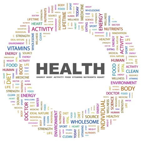 good health: GEZONDHEID. Word collage op witte achtergrond illustratie.    Stock Illustratie