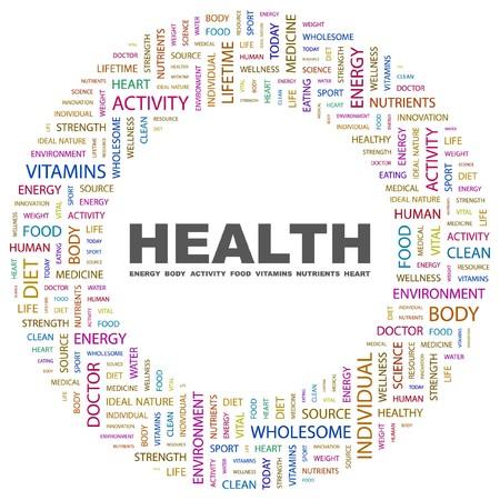 buena salud: SALUD. Collage de Word en ilustraci�n de fondo blanco.