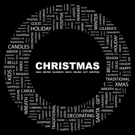 CHRISTMAS. Word collage on black background.  illustration. Stock Vector - 7356766