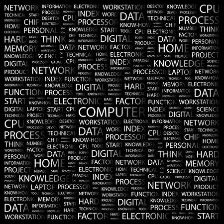 office automation: COMPUTER. Word collage on black background. illustration.    Illustration