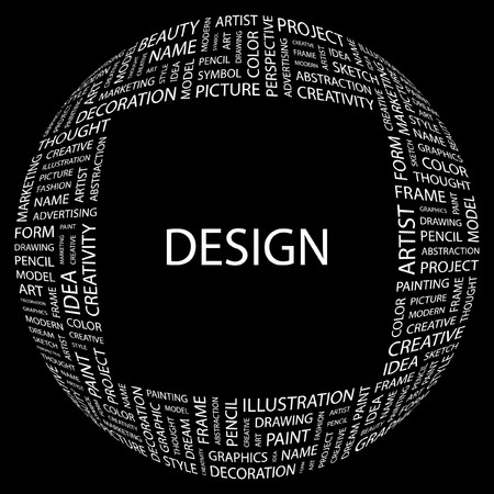 DESIGN. Word collage on black background.  illustration. Stock Vector - 7356944