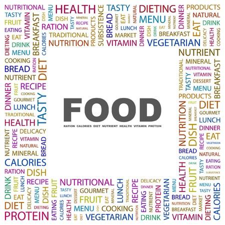 퓌레: FOOD. Word collage on white background. illustration.