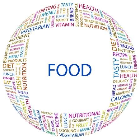 퓌레: FOOD. Word collage on white background illustration.