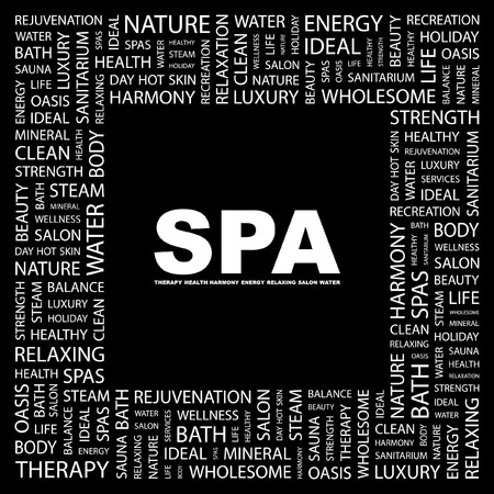 massage therapie: SPA. Word collage op een zwarte achtergrond. illustratie.