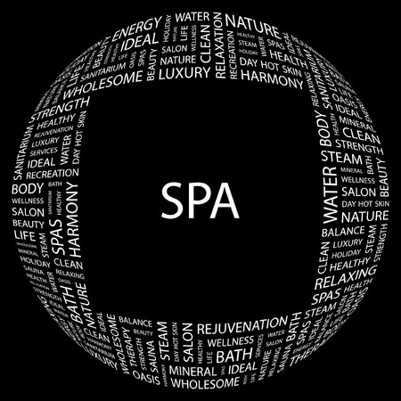 spa resort: SPA. Word collage on black background.  illustration.    Illustration