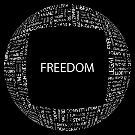 FREEDOM. Word collage on black background. illustration. Stock Vector - 7356613