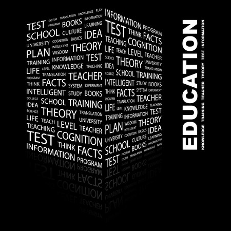 extramural: EDUCATION. Word collage on black background.  illustration.