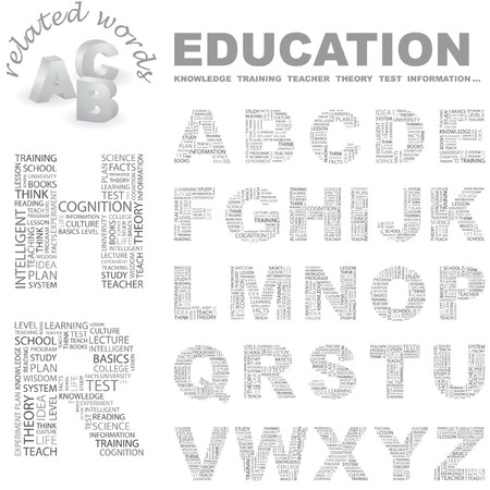 EDUCATION.  letter collection. Wordcloud illustration.   Vector