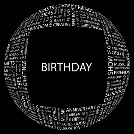 BIRTHDAY. Word collage on black background.  illustration.    Vector