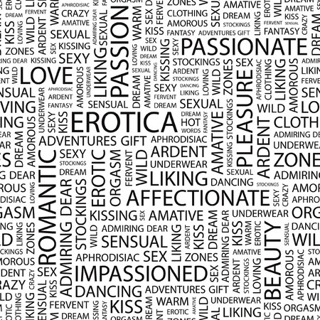 EROTICA. Seamless   pattern with word cloud. Stock Vector - 7356437
