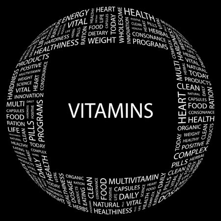 VITAMINS. Word collage on black background illustration.    Stock Vector - 7356619