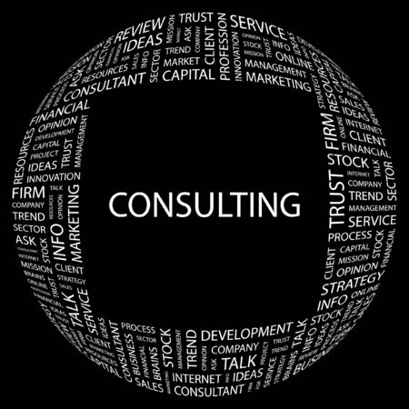 more information: CONSULTING. Word collage on black background illustration.