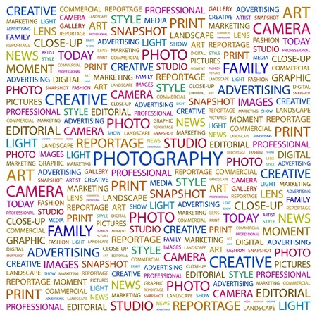 PHOTOGRAPHY. Word collage on white background  illustration.    Vector