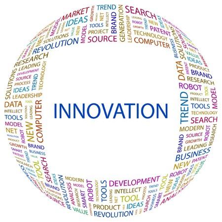 innoveren: INNOVATIE. Woord collage op witte achtergrond. illustratie.