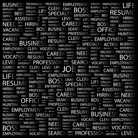 speciality: JOB. Word collage on black background. illustration.