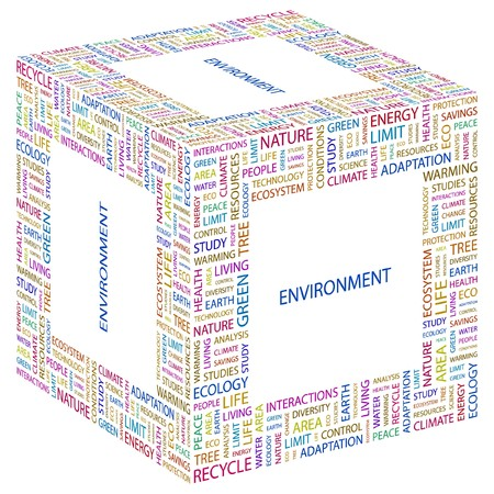 ENVIRONMENT. Word collage on white background. illustration.    Vector