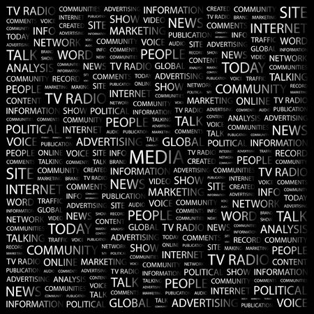 accessing: MEDIA. Word collage on black background.  illustration.
