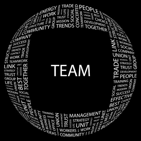concerted: TEAM. Word collage on black background  illustration.