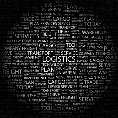 air freight: LOGISTICA. Parola di collage su sfondo nero illustrazione.  Vettoriali