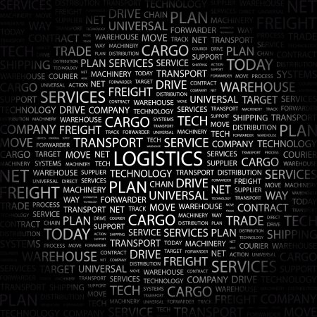 LOGISTICS. Word collage on black background illustration.