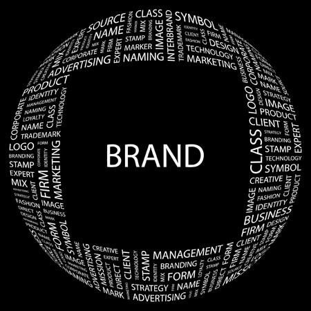interbrand: BRAND. Word collage on black background. illustration.