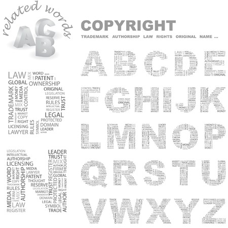 authorship: COPYRIGHT.   letter collection. Wordcloud illustration.