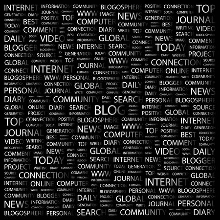 blogosphere: BLOG. Word collage on black background. illustration.