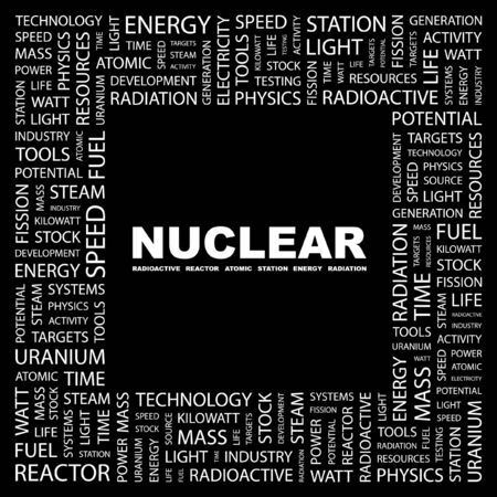 NUCLEAR. Word collage on black background. illustration.