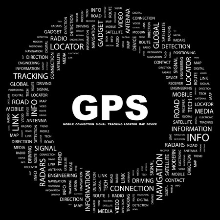 GPS. Word collage on black background. illustration.    Stock Vector - 7356583