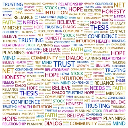 axiom: TRUST. Word collage on white background. illustration.      Illustration