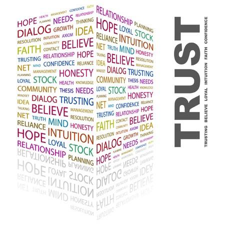 believe: RELACI�N DE CONFIANZA. Palabra collage sobre fondo blanco. ilustraci�n.