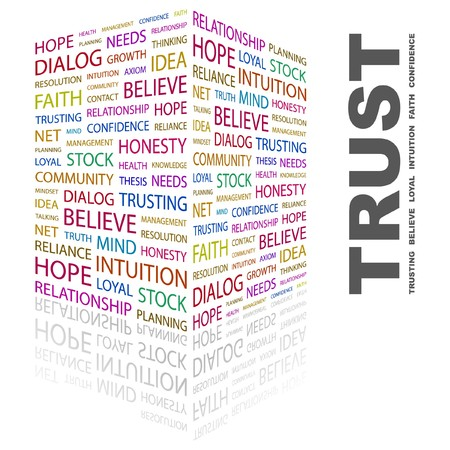 believe: TRUST. Word collage on white background.  illustration.