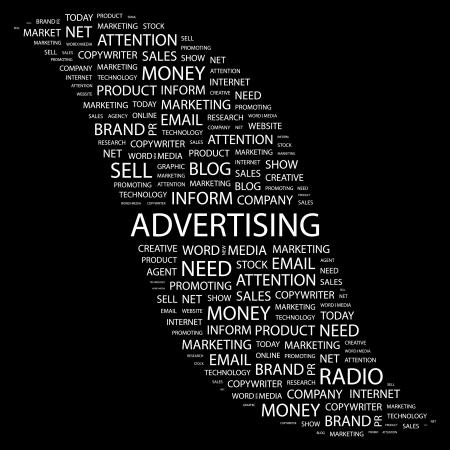 apprise: ADVERTISING. Word collage on black background. illustration.