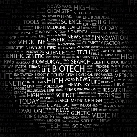 BIOTECH. Word collage on black background.  illustration.    Vector
