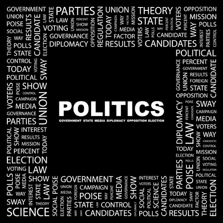 conflict theory: POLITICS. Word collage on black background. illustration.
