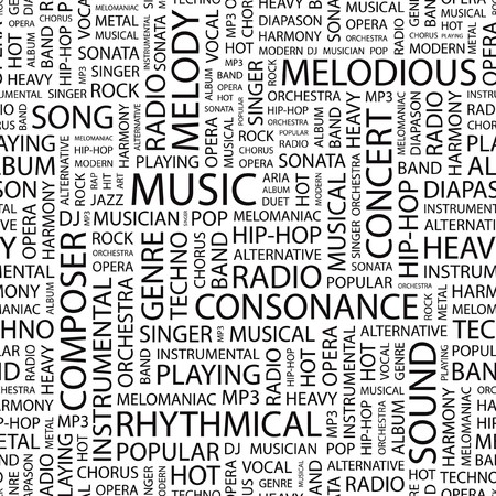 MUSIC. Seamless  pattern with word cloud.   Vector