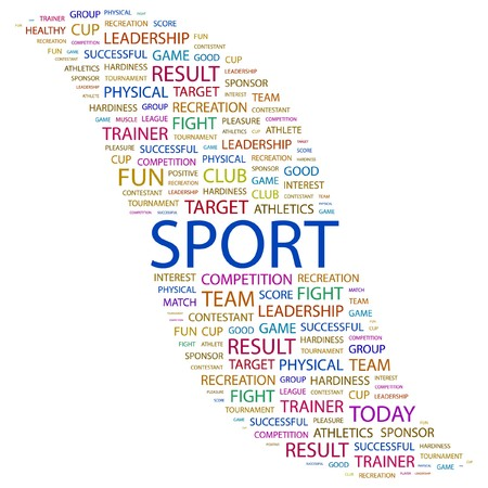 SPORT. Word collage on white background illustration.    Vector