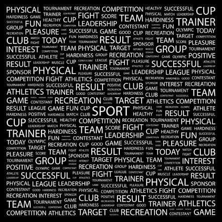 SPORT. Word collage on black background.  illustration.    Vector