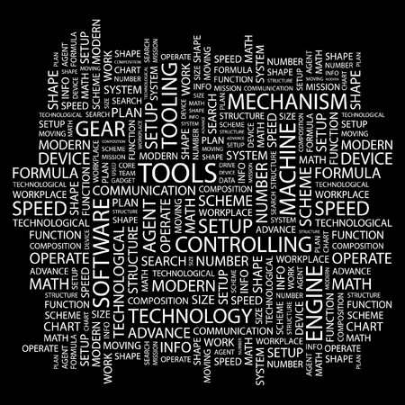 TOOLS. Word collage on black background.  illustration. Stock Vector - 7356584