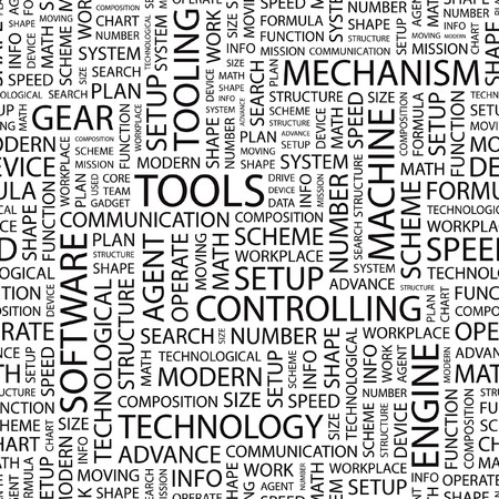 TOOLS. Seamless   pattern with word cloud.   Vector