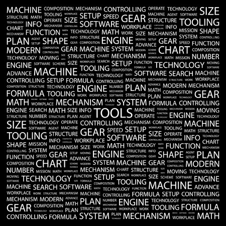 TOOLS. Word collage on black background.  illustration. Stock Vector - 7357270
