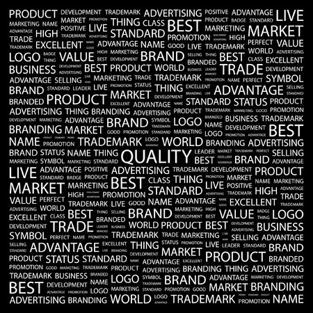 QUALITY. Word collage on black background. illustration. Stock Vector - 7357294