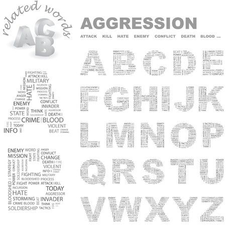 assailant: AGGRESSION.  letter collection. Wordcloud illustration.