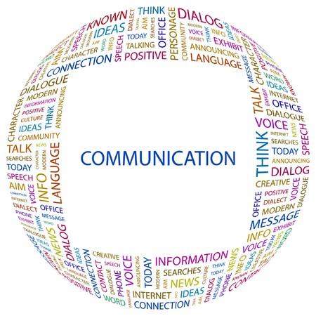 advisement: COMMUNICATION. Word collage on white background.  illustration.