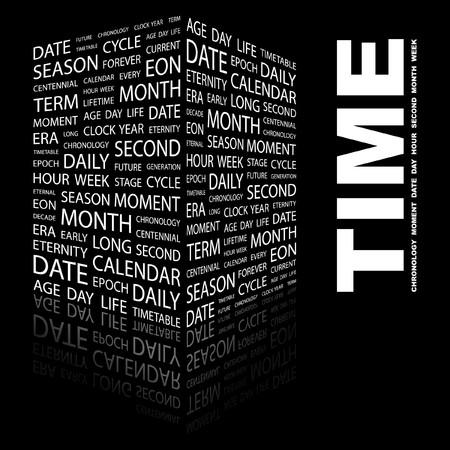 long term: TIEMPO. Palabra collage sobre fondo negro ilustraci�n.  Vectores