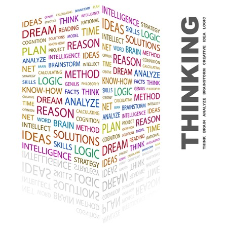 THINKING. Word collage on white background. illustration.    Stock Vector - 7356955