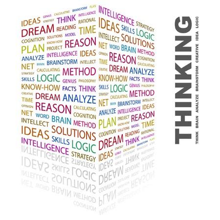 cogitate: THINKING. Word collage on white background. illustration.    Illustration