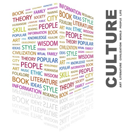 philosophy of music: CULTURE. Word collage on white background. illustration.