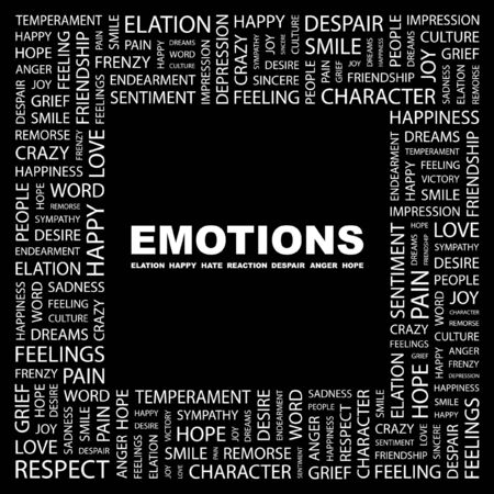 commotion: EMOTIONS. Word collage on black background.  illustration.