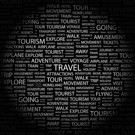 TRAVEL. Word collage on black background.  illustration.    Vector